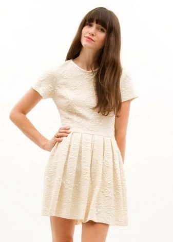 White Pleated Printed Dress