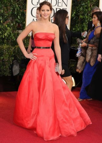 Long fluffy red bustier dress