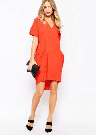 Šaty pytel jasně oranžové