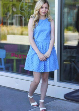 Blå kjole-kjole for fulle jenter