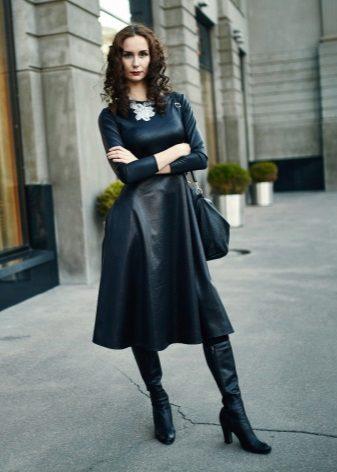 Eco-Leather A-Silhouette Midi-mekko