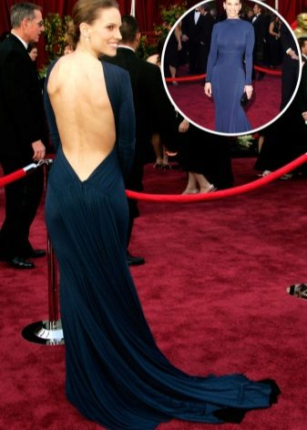 Closed dress with open back from the red carpet