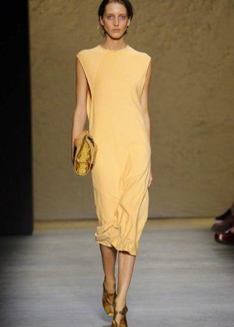 Fashionable dress straight cut 2016 midi length