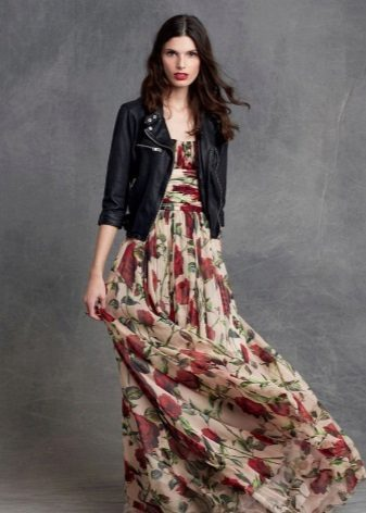 Leather jacket to a long dress