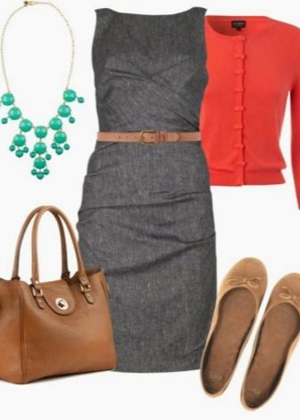 Terracotta blouse to gray sheath dress