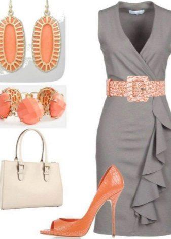 Acessórios de vestido cinza pêssego