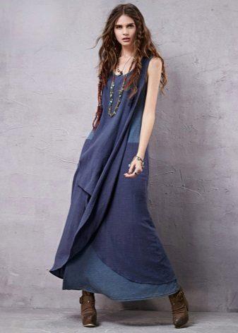 Brown shoes to blue denim dress