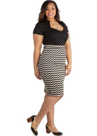 Faldilla de llapis negre i blanc per a dones obeses