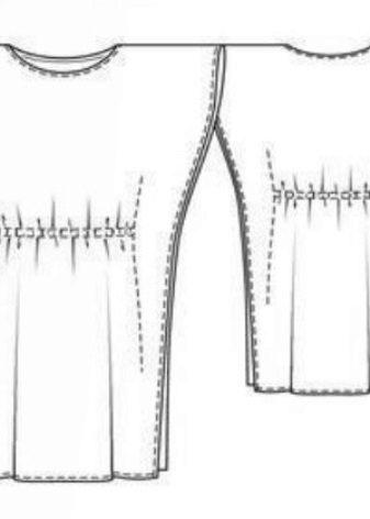 Egyenes ruha, denevér hüvely technikai rajza