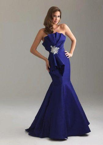 vestido da sereia do tafetá da marinha