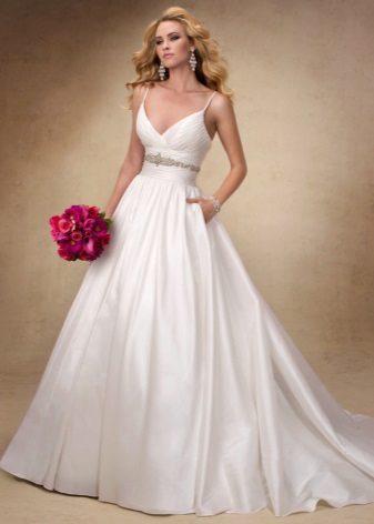vestido de casamento tafetá romântico