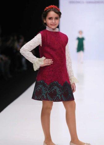 Vestido de inverno vestido vermelho para as meninas