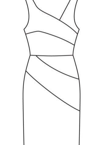Az aszimmetrikus köpeny ruha technikai mintázata