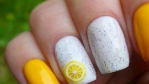 Heldere en originele manicure van ontwerpideeën met citroenen