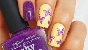 Manicure met vlinders: functies en ontwerpideeën