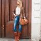Calça jeans clássica de cintura alta reta