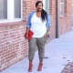 Calça elegante comprimento 7/8 para mulheres obesas
