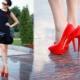 Sapatos vermelhos e vestido preto