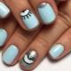 Blauwe Nail Art-ideeën voor korte nagels
