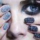 Manicure met glitter voor korte nagels