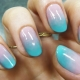 Features ombre manicure on short nails