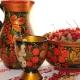 Servies met geschilderde Khokhloma: kenmerken en types