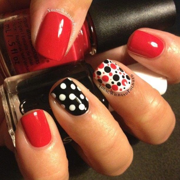 Manicura Blanco Rojo Negro 28 Fotos Diseño De Uñas