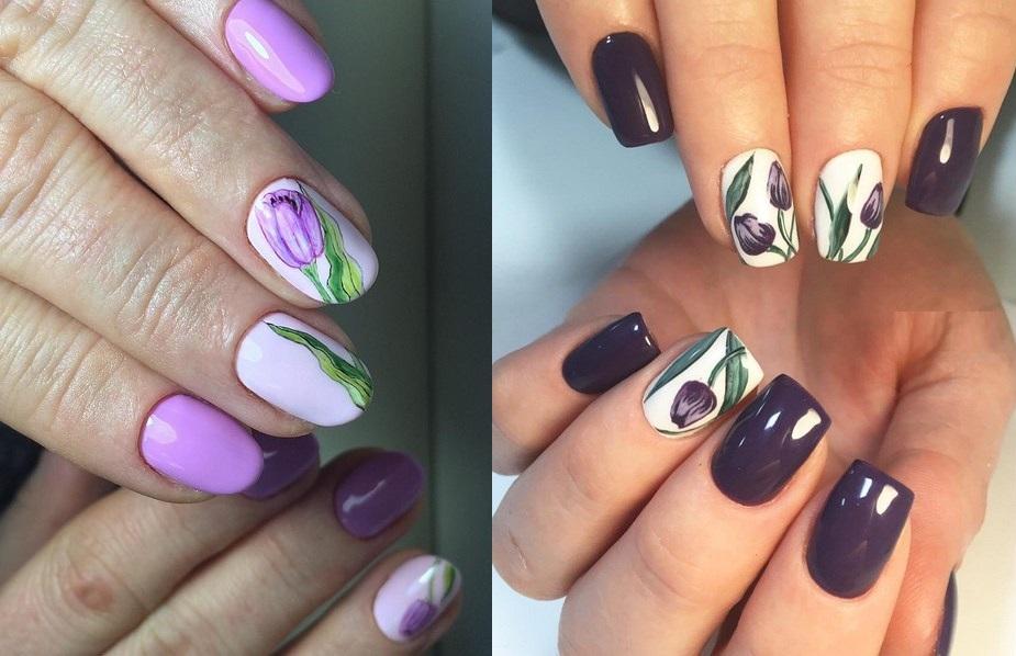 Hoa tulip trên móng tay (28 ảnh): thiết kế móng tay với hoa tulip