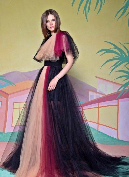 Vestido de noite de cor A linha