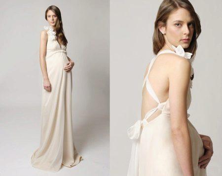 Сватбена рокля за майчинство с отворена гръб