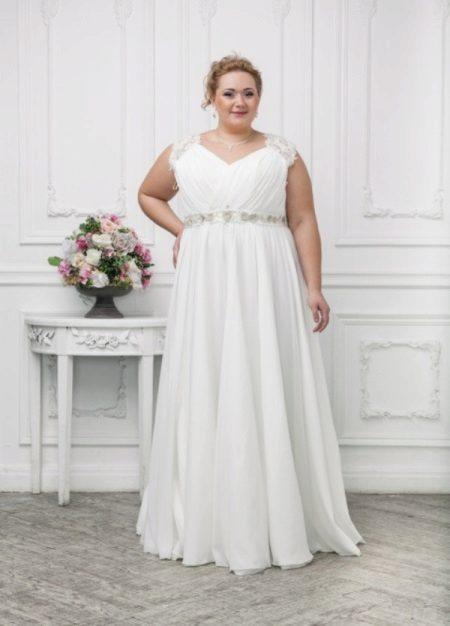 Vestit de núvia per a dones obeses amb faldilla completa