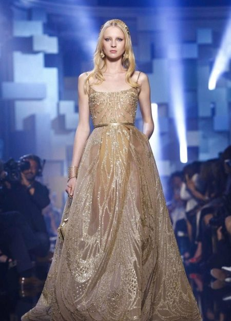 Beige fluffy dress by Elie Saab