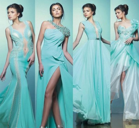 Evening dresses in turquoise from Saiid Kobeisy