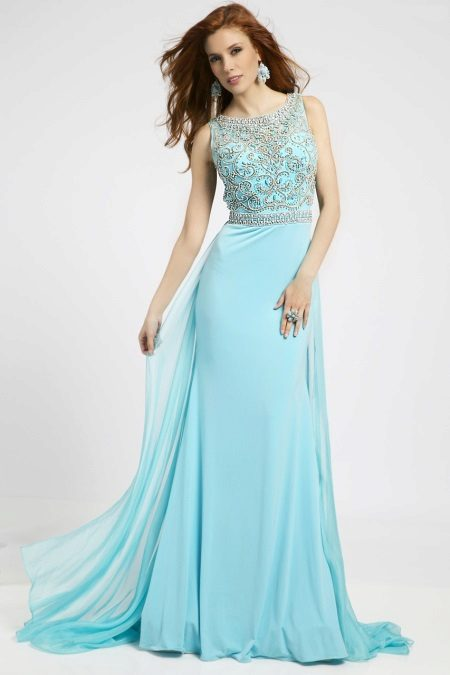 Dress turquoise evening with openwork