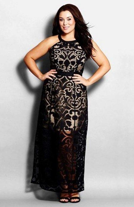 Zwart kanten avondschede jurk voor de volle lengte