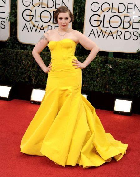 Avond gele jurk zeemeermin voor vol