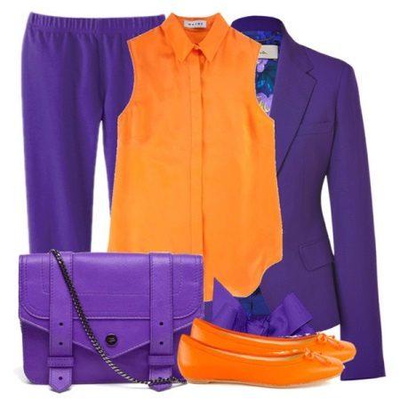 Fialová s oranžovou - šaty a sako