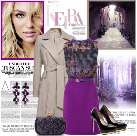 Purple dress with brown / beige