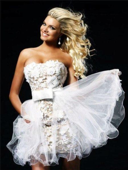 Horgolt horgolt rövid esküvői ruha