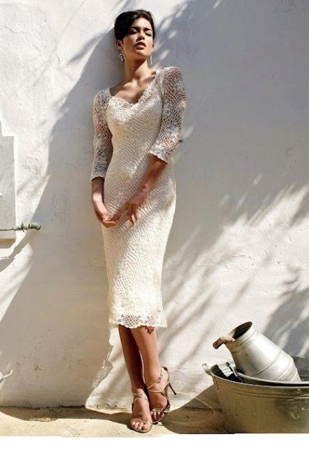 Horgolt esküvői ruha motívumokból
