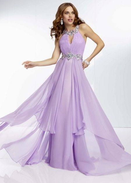 Večerní fialové šaty rovné