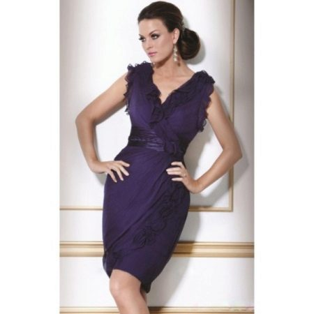 Straight closed lilac evening dress