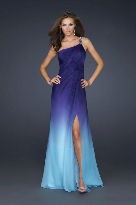 Gradient in an evening dress - purple and blue