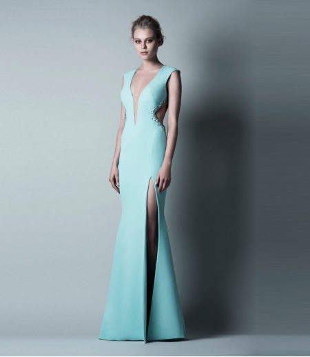 Turquoise evening dress by Saiid Kobeisy with a slit