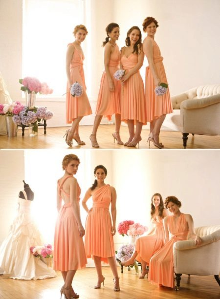 persikka-mekot bridesmaids