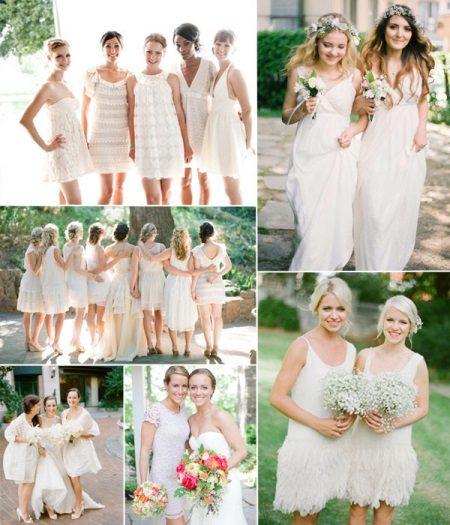 Valkoinen mekko bridesmaids