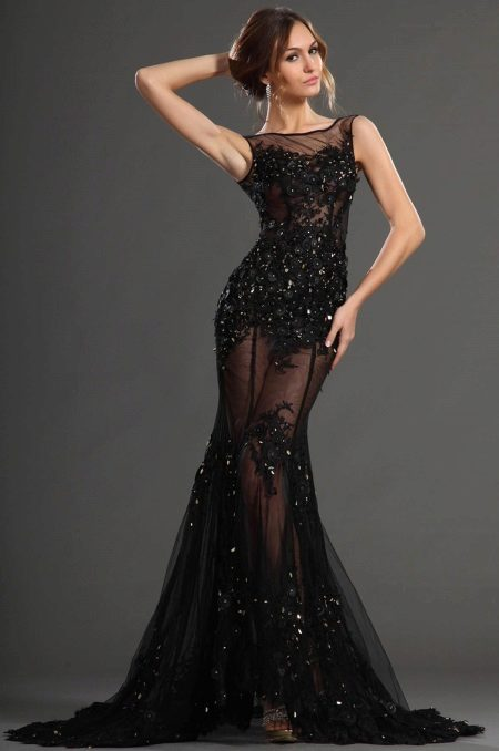 Vestido de noite sereia renda transparente