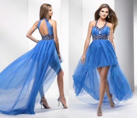 Avond Griekse jurk korte voor- en lange achterkant