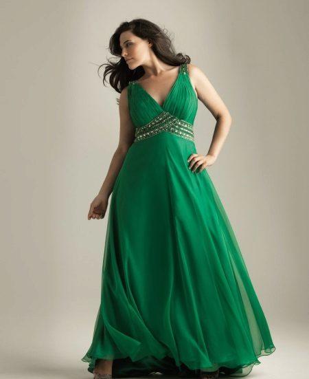 Avond groene jurk voor het volledige rijk