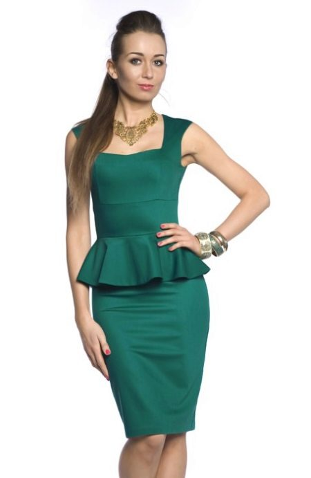 green evening gown with basky